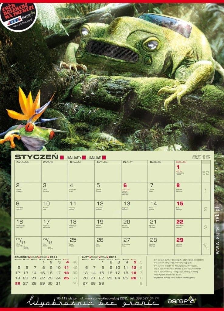 kalendarz jednodzielny firmy Agraf na rok 2012