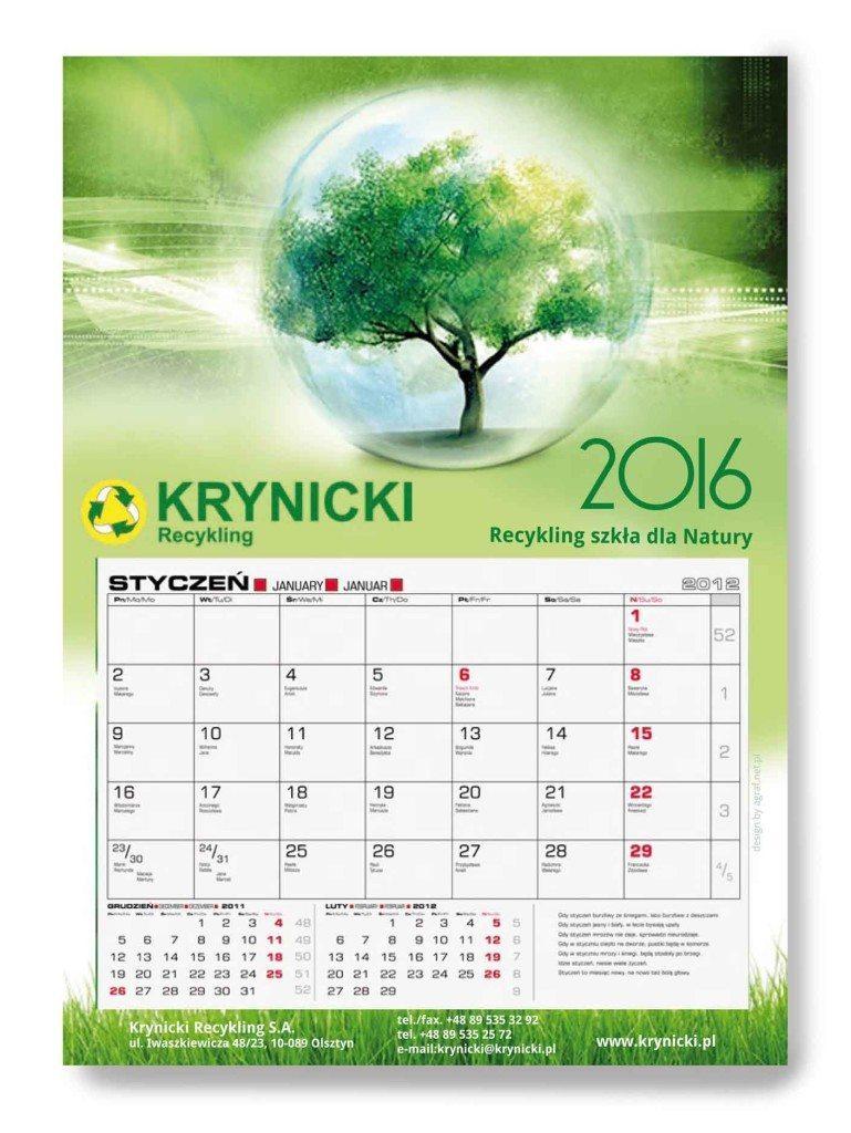 Kalendarz jednodzielny Krynicki Recykling